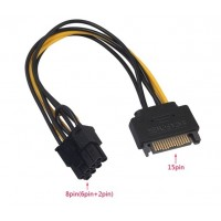 SATA Power Supply Cable 15-pin to 8pin(6+2) PCI-E Power Adapter Cable